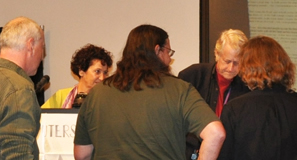 Ted Nelson signing books