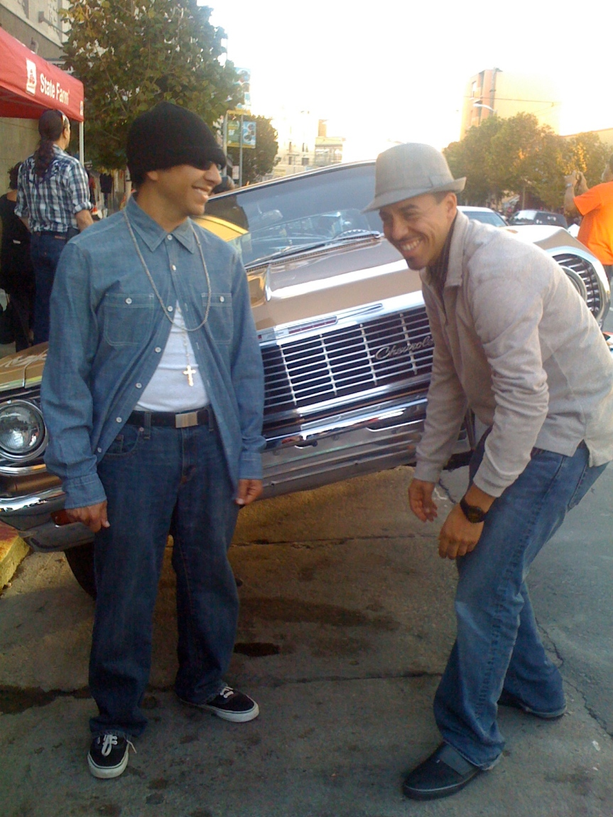 Posing with the lowriders